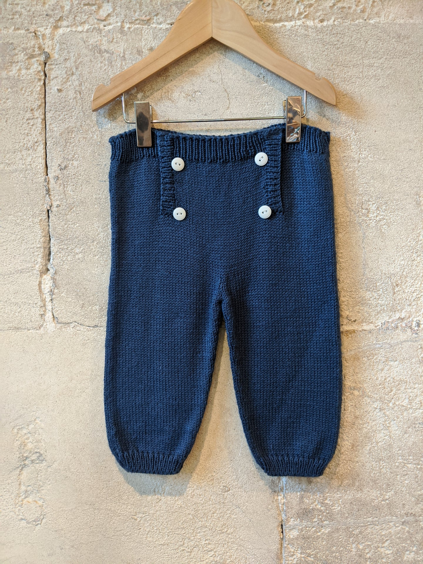 Wonderful Hand Knitted French Navy Trouser - 12 Months