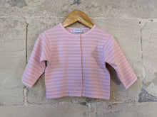 Load image into Gallery viewer, Super Soft French Pink Striped Jacadi Cadigan - 6 Months