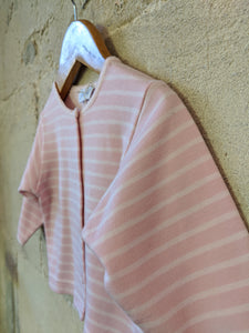 Super Soft French Pink Striped Jacadi Cadigan - 6 Months