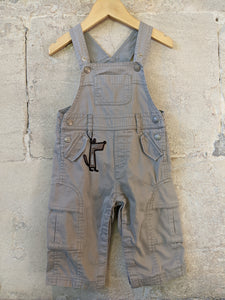 Lovely Lined French Fox Dungarees - 12 Months