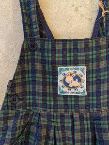 Fabulous French Vintage Plaid Dungarees - 12 Months