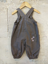 Load image into Gallery viewer, Beautifully Shaped French Dungarees with Pretty Lace Trim -12 Months