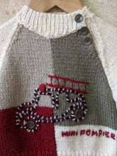 Load image into Gallery viewer, Fabulous French Hand Knitted Fire Engine Colour Block Jumper - 6 Months