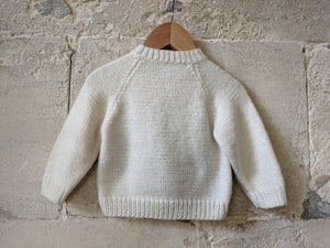Fabulous French Hand Knitted Fire Engine Colour Block Jumper - 6 Months
