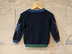Gorgeous Soft Striped French Doggy Jumper - 12 Months