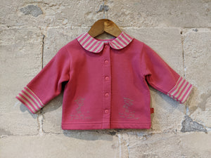Fleecy Soft Pink Jacket with Candy Striped Nautical Collar - 12 Months