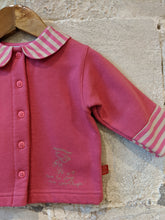 Load image into Gallery viewer, Fleecy Soft Pink Jacket with Candy Striped Nautical Collar - 12 Months