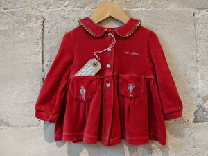 Beautiful French Floaty Velvet Jacket with Peter Pan Collar - 12 Months