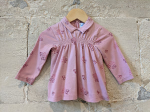 Sweet Petit Bateau Long Sleeved Top with Collar - 12 Months
