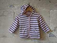 Load image into Gallery viewer, Breton Striped Moussaillon Cosy Hooded Cardigan - 12 Months