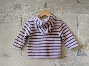 Breton Striped Moussaillon Cosy Hooded Cardigan - 12 Months