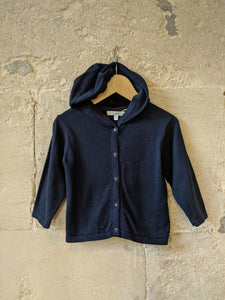 Smart French Navy Cotton Knit Hooded Cardigan - 12 Months