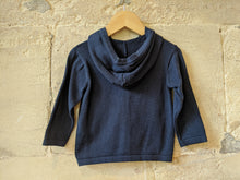 Load image into Gallery viewer, Smart French Navy Cotton Knit Hooded Cardigan - 12 Months