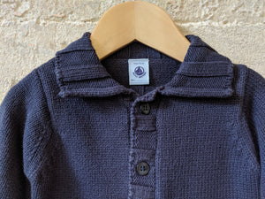 Petit Bateau Thick Cotton Knit Cardigan - 12 Months