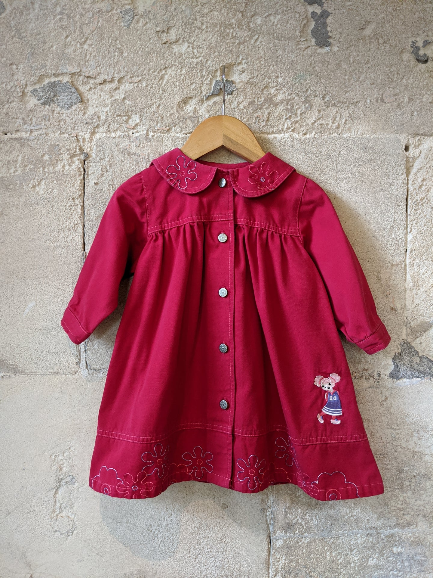 French Floaty Cotton Coat with Pretty Collar - 12 Months