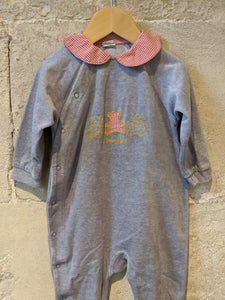 Beautiful Gingham Bear Soft French Grey Vintage Sleepsuit - 12 Months