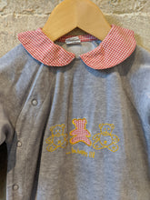 Load image into Gallery viewer, Beautiful Gingham Bear Soft French Grey Vintage Sleepsuit - 12 Months