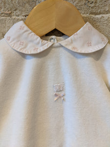Petit Bateau Soft White Vintage Babygrow with Pretty Peter Pan Collar - 6 Months