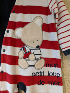 Super Striped Soft Teddy Bear Babygrow - 18 Months
