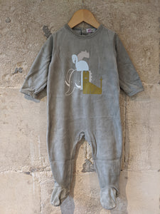 Olive Green Soft French African Animals Babygrow - 18 Months