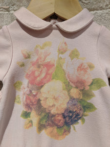 Gorgeous Soft French Floral Sleepsuit with Ruffles - Newborn