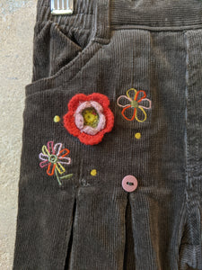 Gorgeous Corduroy Flares with Crocheted Flowers - 18 Months