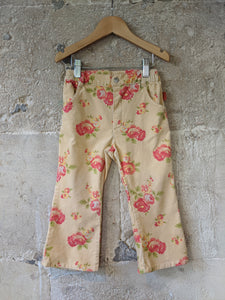 Super French Floral Velvety Trousers - 3 Years