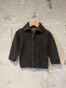 Chunky Knit Cotton Zip Up Cardigan - 2 Years