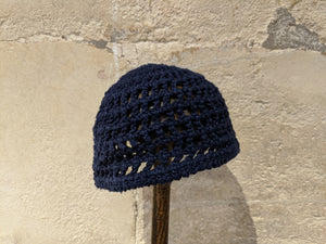 Beauatiful French Navy Crocheted Hat - 3 Years