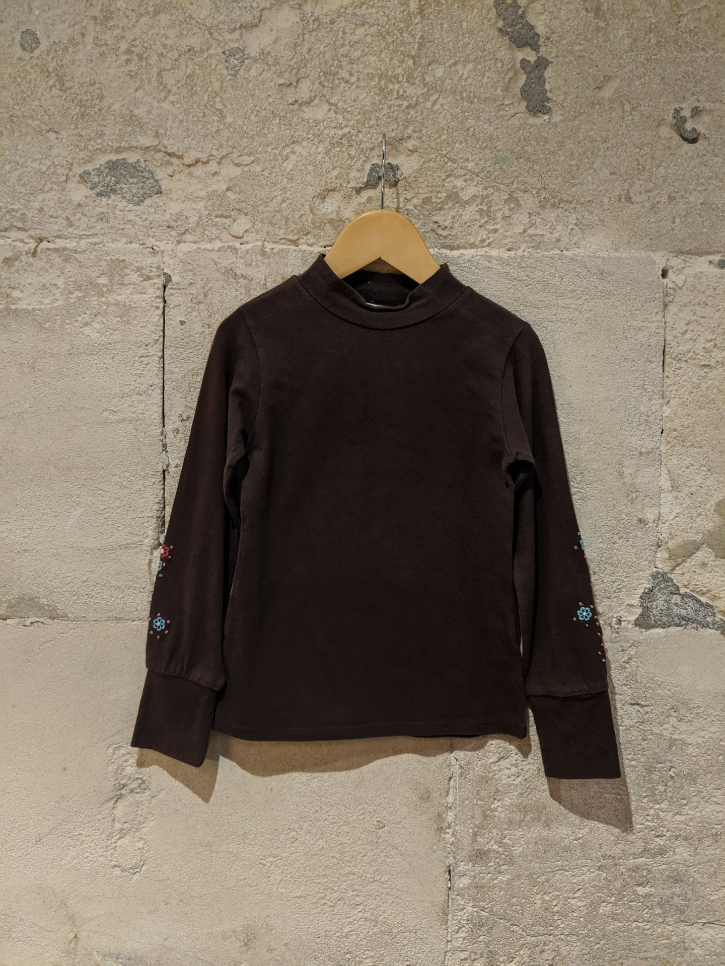 Pretty Chocolate Brown Roll Neck - 6 Years