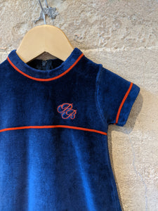 Beautiful Vintage Petit Bateau Jewel Velvet Dress - 6 Months