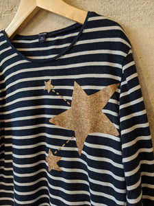 Sparkly Golden Stars and French Stripes - 10 Years