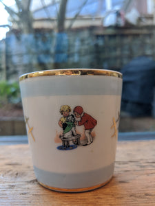 Antique Limoges Cuite au Bois Child's China Beaker