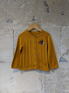 Beautiful Mustard Fine Cable Knit Cardigan - 2 Years