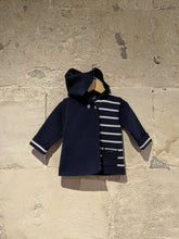Load image into Gallery viewer, Beautiful Petit Saint James Warm Striped Hooded Cardigan - 12 Months