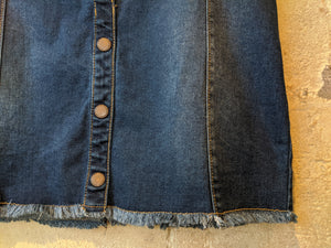 Dark Denim Button French Frayed Skirt - 12 Years