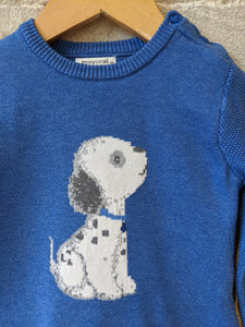 Mayoral Cosy Cotton Royal Blue Dog Jumper - 12 Months