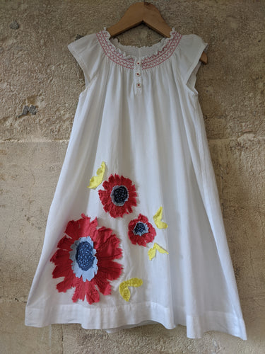Mini Boden A-Line White Flower Dress Poppy Smocking 4-5 Years