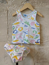 Load image into Gallery viewer, Abstract 80s Pastel Print Vest Bloomers Retro