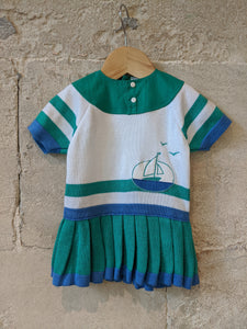 Amazing French Vintage Tennis Style Seaside Dress - 3 Months