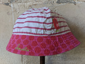 Preloved Baby Summer Sun Hat Pink Stripes Cute Animals DPAM 2 Years