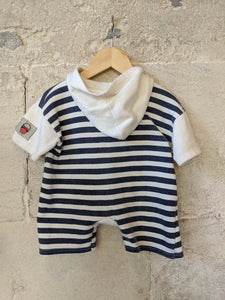 The Cutest Little Fisherman Vintage Hooded Romper 6 Months