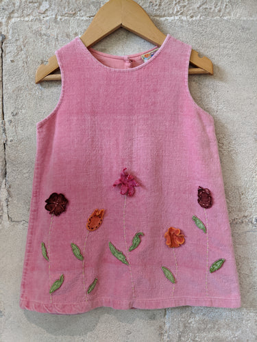 Pink velvet French brand DPAM baby girl's flower dress 2 Years