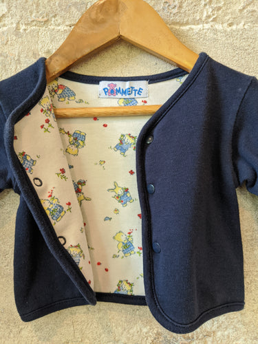Vintage teddy Bear Blue Cotton Cardigan Pomette Newborn