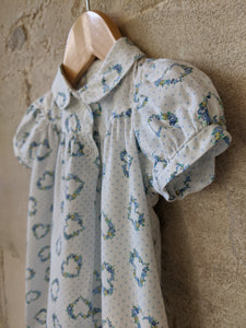 Pretty Polkadot French Floral Vintage Dress - 6 Months