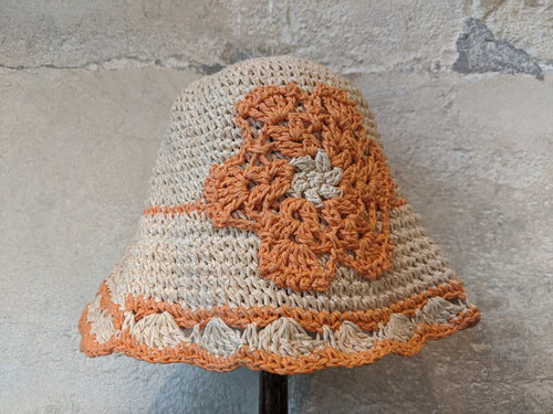Secondhand straw hat orange flower girls 4-6 Years Handmade Paper
