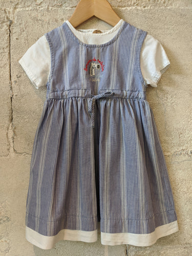 French vintage preloved baby girl's blue chambray dress 18 Months