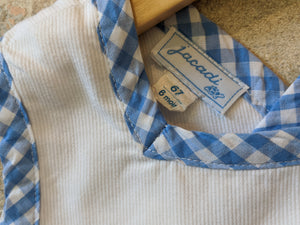 Designer Baby Clothes French Brand Jacadi Label Blue Checked Trim 67cm 6 Months