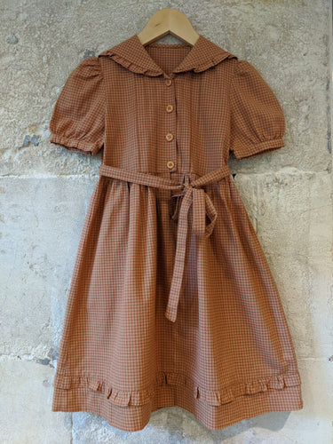 Amazing Girl's Preloved Clothes French Vintage Checked Dress 7-8 Years Rust Autumnal Colours Checked Fabric