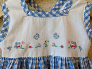 Easter Egg Embroidered Design on Blue Checked Jacadi Dress Baby Clothes 6 Months